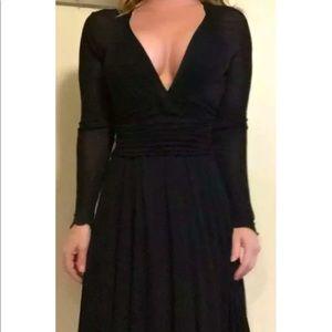 Alessandro Dell Acqua Black Plunge Neckline Dress